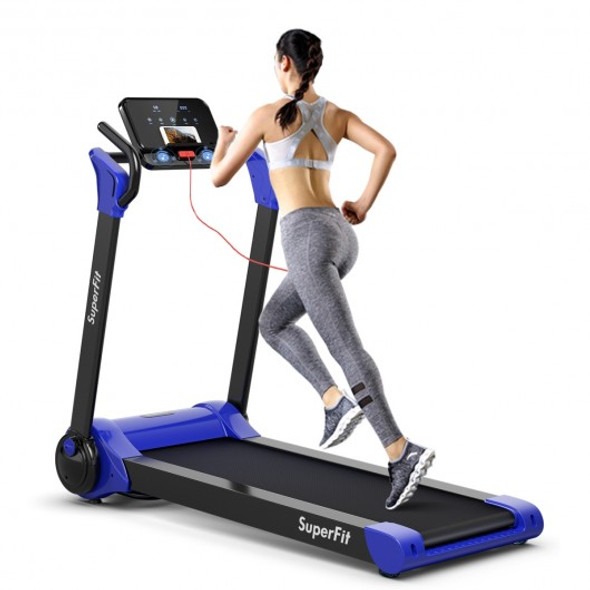 2.25 HP Electric Motorized Folding Running Treadmill Machine with LED Display-Navy
