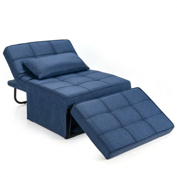 Sofa Bed 4 in 1 Multi-Function Convertible Sleeper Folding footstool-Blue