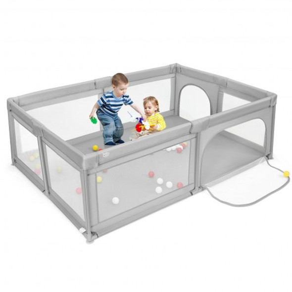 Extra-Large Safety Baby Fence with 50 Ocean Balls-Gray