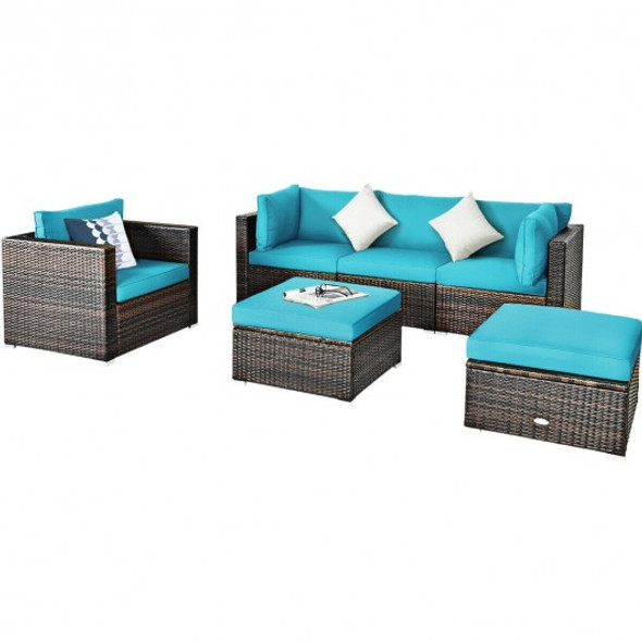 6 Pcs Patio Rattan Furniture Set with Sectional Cushion-Turquoise