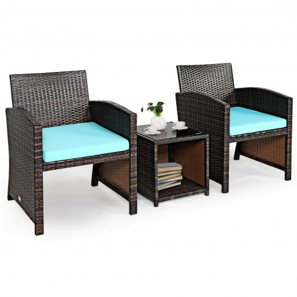 3 Pieces PE Rattan Wicker Furniture Set with Cushion Sofa Coffee Table for Garden-Turquoise