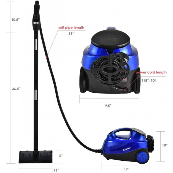 2000W Heavy Duty Multi-purpose Steam Cleaner Mop with Detachable Handheld Unit-Blue