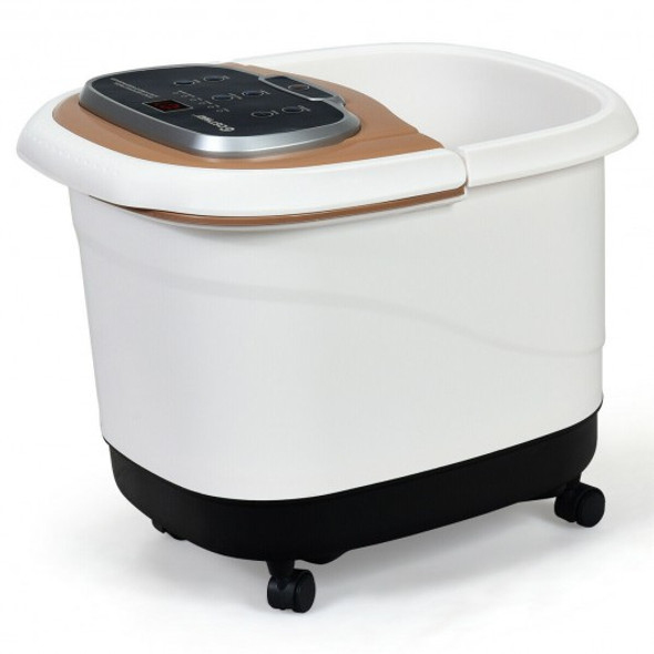 Portable All-In-One Heated Foot Bubble Spa Bath Motorized Massager-Coffee