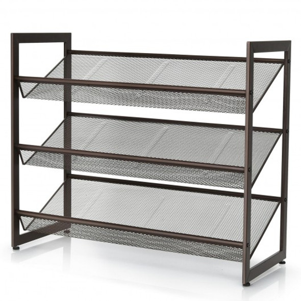 Adjustable to Flat or Slant Shoe Organizer Stand-3-Tier