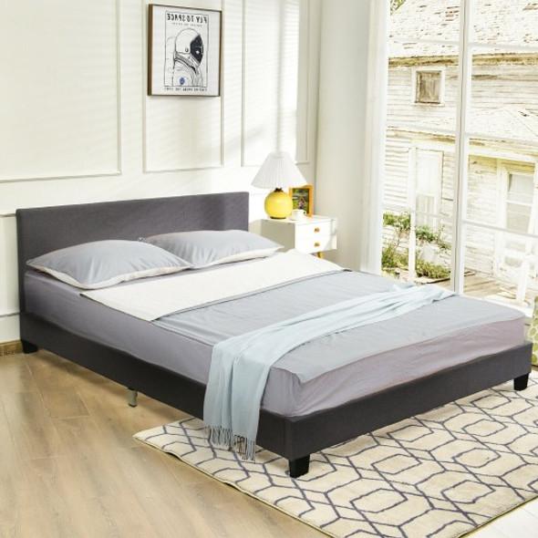 Queen Upholstered Platform Bed Frame with Linen Headboard Wood Slat-Gray