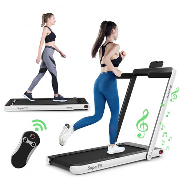 2 in 1 2.25 HP Under Desk Electric Installation-Free Folding Treadmil  with Bluetooth Speaker and LED Display-White