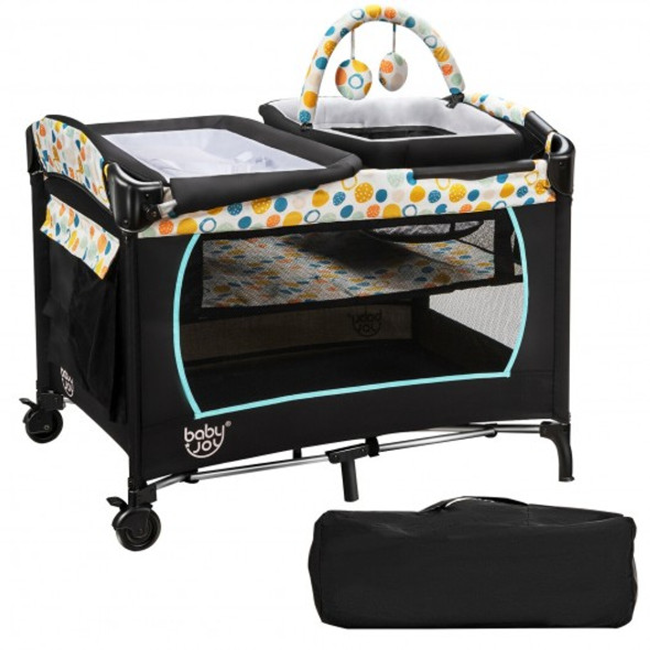 4-in-1 Convertible Portable Baby Playard with Changing Station-Blue