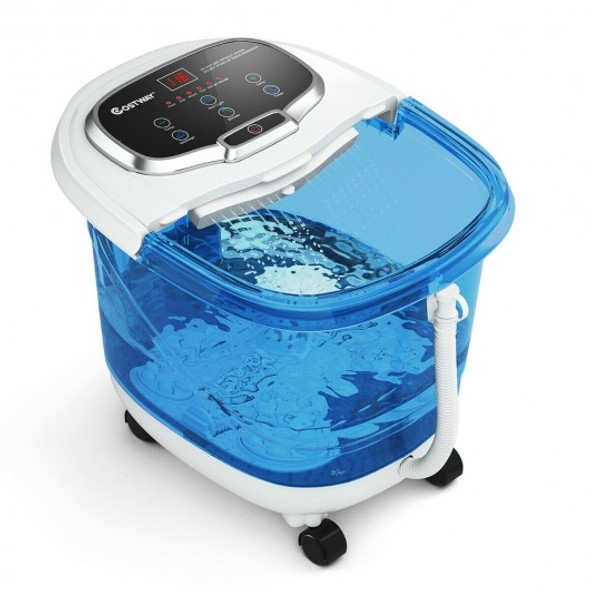 Portable All-In-One Heated Foot Bubble Spa Bath Motorized Massager-Blue and Withe