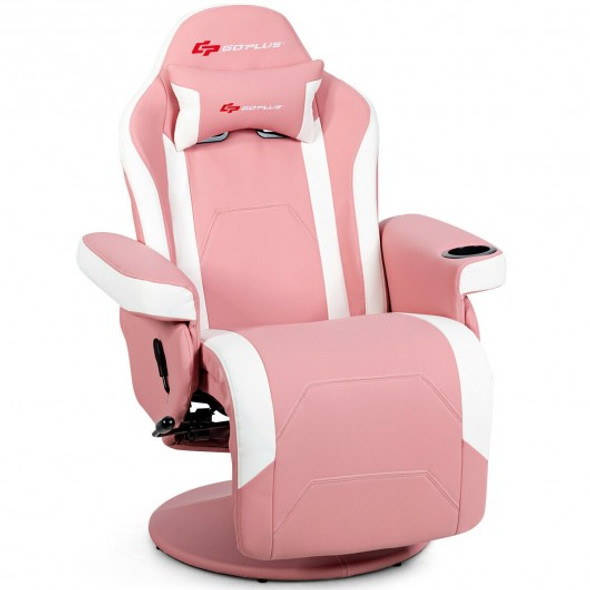 Ergonomic High Back Massage Gaming Chair with Pillow-Pink