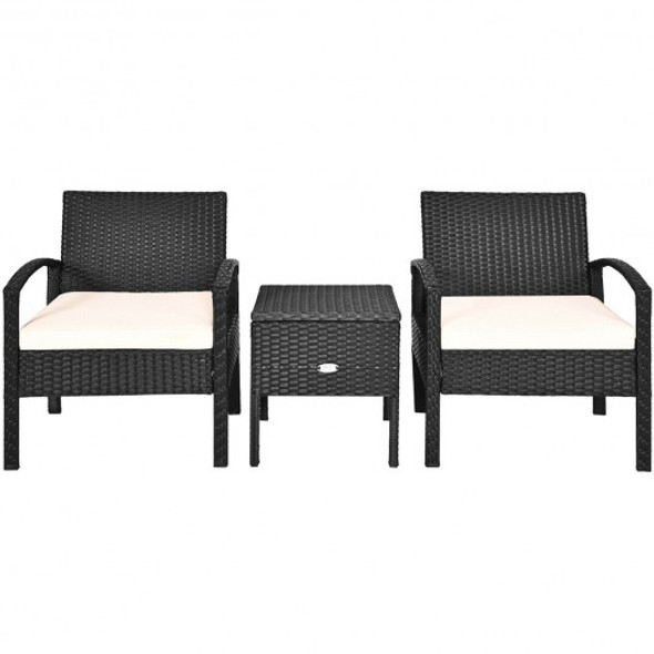 3 pcs Outdoor Patio Rattan Furniture Set with Cushion - COHW63757WH