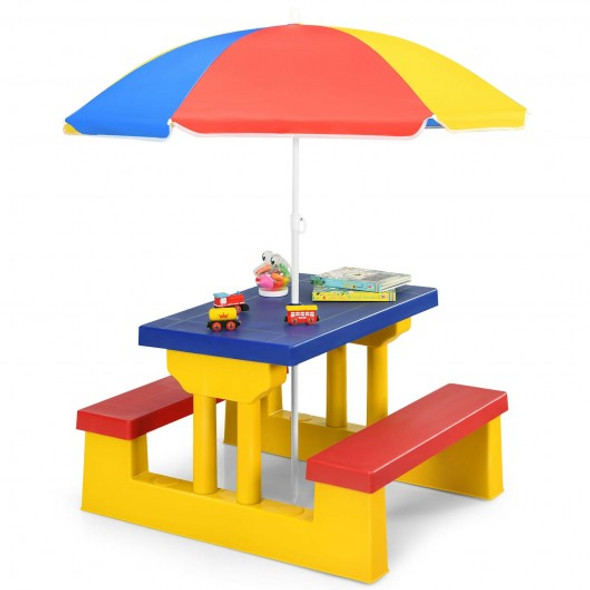 Kids Picnic Folding Table and Bench with Umbrella-Yellow