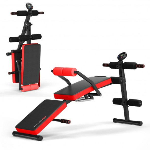 Multi-Functional Foldable Weight Bench Adjustable Sit-up Board with Monitor-Red