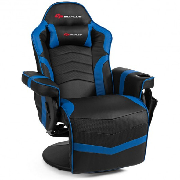 Ergonomic High Back Massage Gaming Chair with Pillow-Blue