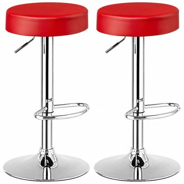 Set of 2 Adjustable Swivel Round Bar Stool  Pub Chair-Red