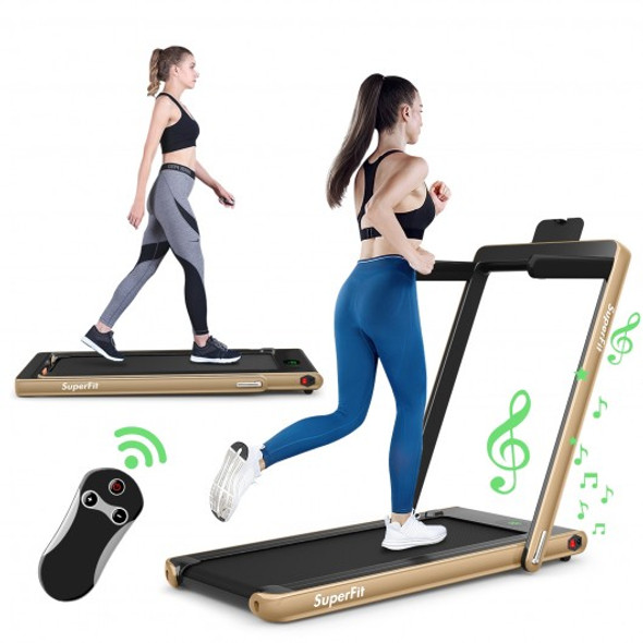2 in 1 2.25 HP Under Desk Electric Installation-Free Folding Treadmil  with Bluetooth Speaker and LED Display-Yellow