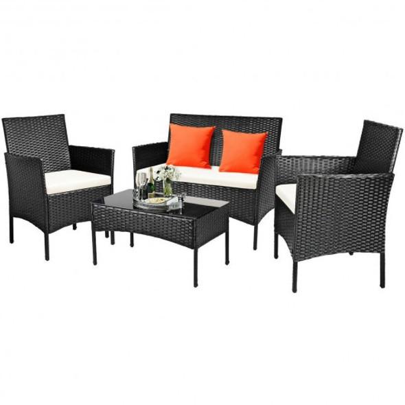 4 Pcs Patio Rattan Cushioned Sofa Furniture Set