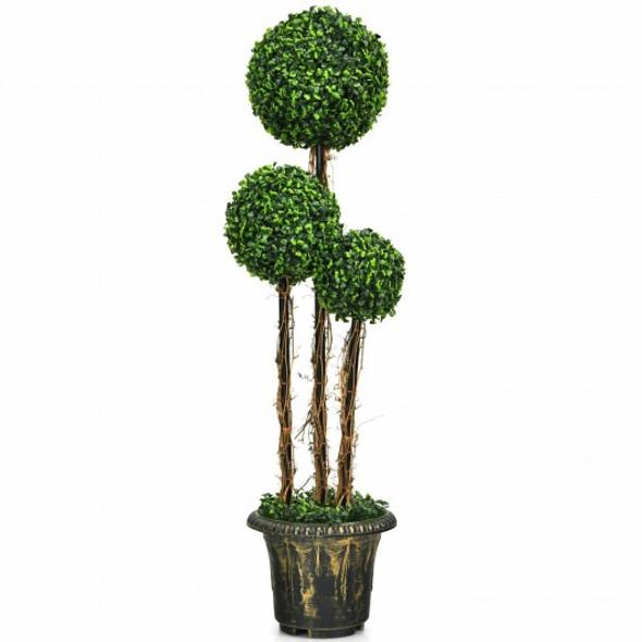 4' Artificial UV Resistant Topiary Triple Ball Tree Plant