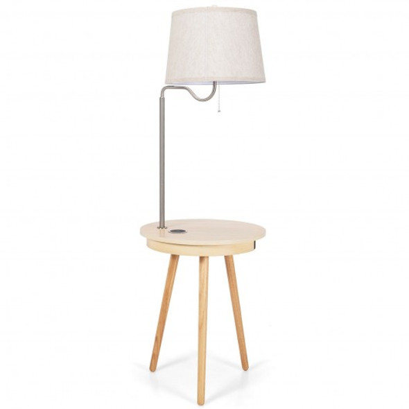 End Table Lamp Bedside Nightstand Lighting with Wireless Charger-Natural