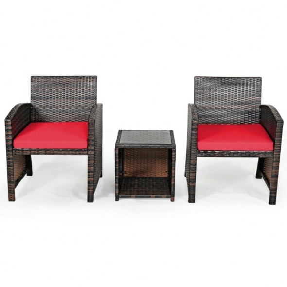 3 Pieces PE Rattan Wicker Furniture Set with Cushion Sofa Coffee Table for Garden-Red