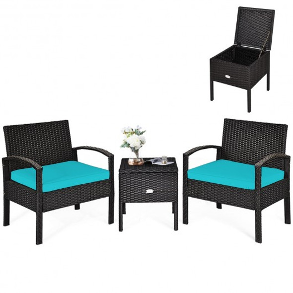 3 Piece Patio Furniture Set PE Rattan Wicker Sofa Set with Washable and Removable Cushion-Turquoise