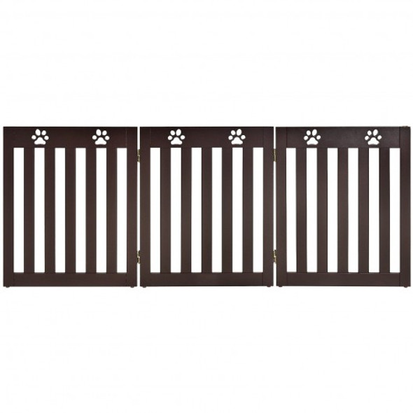 """24"""" Folding Wooden Freestanding Dog Gate with 360 Flexible Hinge for Pet-Espresso"""