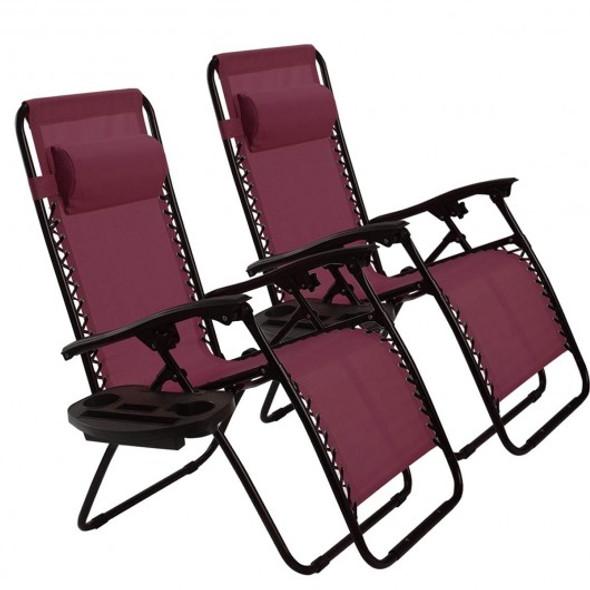 2 pcs Folding Lounge Chair with Zero Gravity-Wine