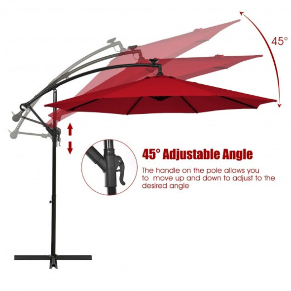 10 Ft Solar LED Offset Umbrella with 40 Lights and Cross Base for Patio-Wine
