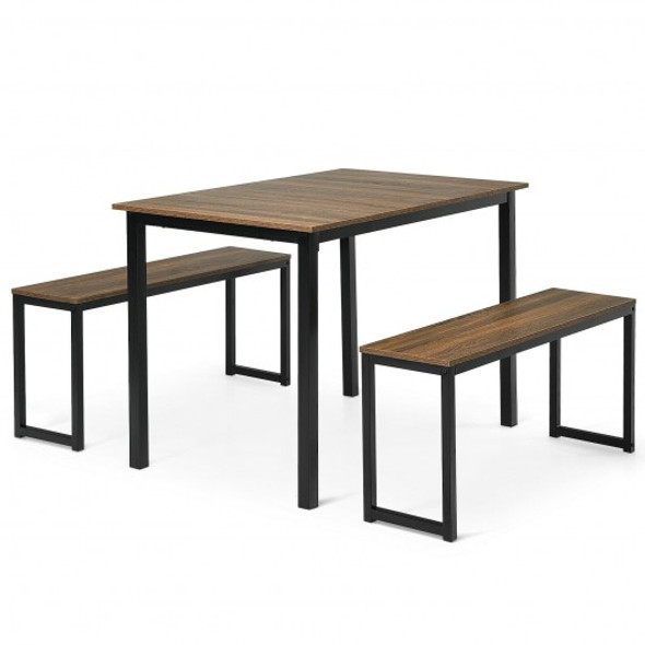 3-Piece Kitchen Dining Table Set with 2 Benches for Limited Space -Natural