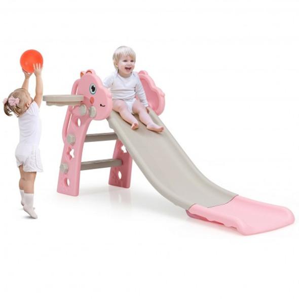 3 in 1 Kids Slide Baby Play Climber Slide Set with Basketball Hoop -Pink