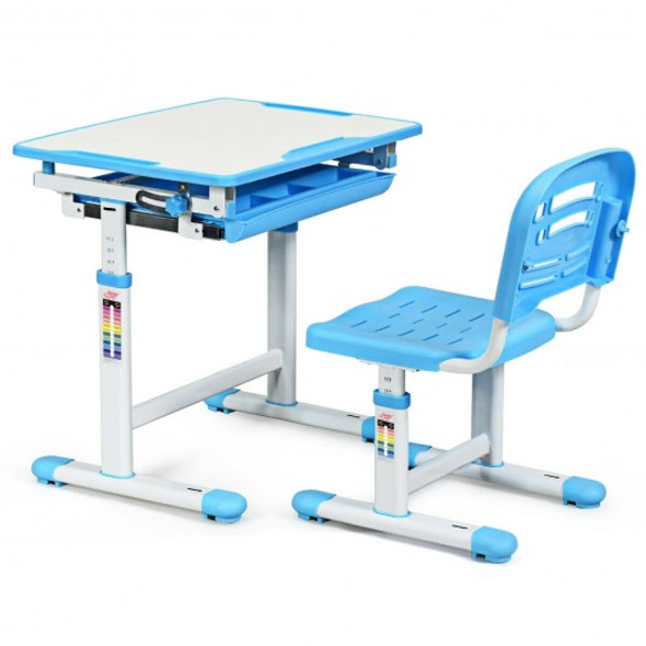 Height Adjustable Childrens Desk Chair Set -Blue