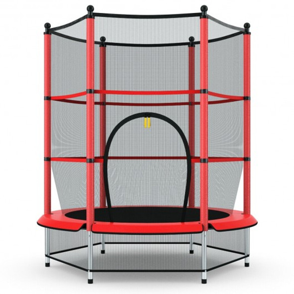 """55"""" Youth Jumping Round Trampoline with Safety Pad Enclosure-Red"""