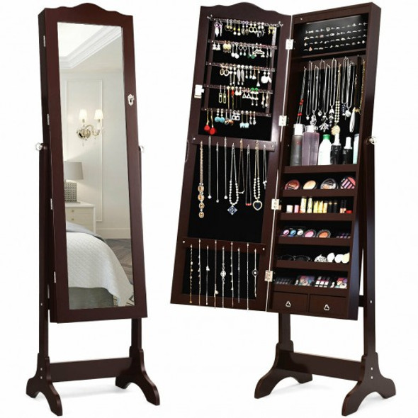 Mirrored Jewelry Cabinet Storage with Drawer and Led Lights-Coffee - COJV10078CF