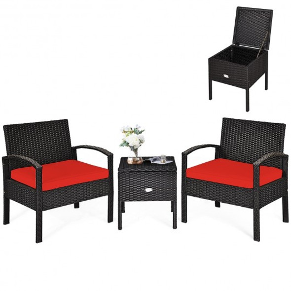 3 Piece PE Rattan Wicker Sofa Set with Washable and Removable Cushion for Patio-Red