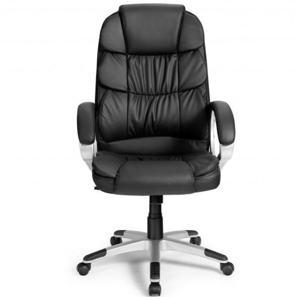 Ergonomic Office High Back Leather Adjustable Chair -Black