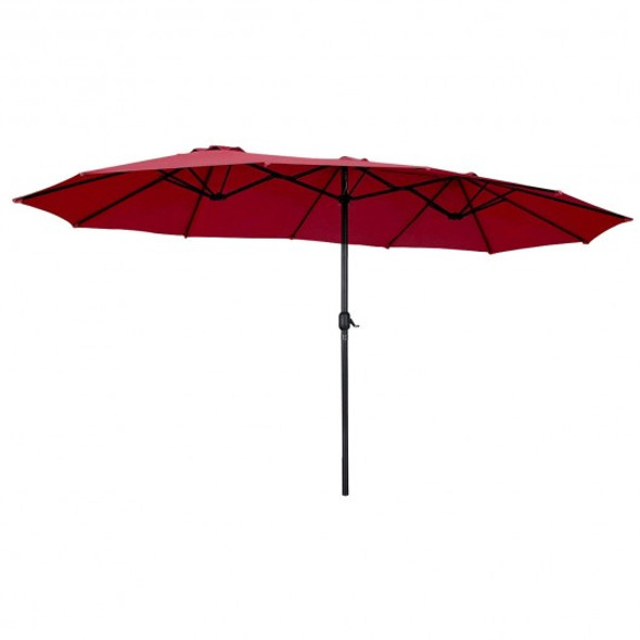 15' Twin Patio Umbrella Double-Sided Outdoor Market Umbrella without Base -Wine
