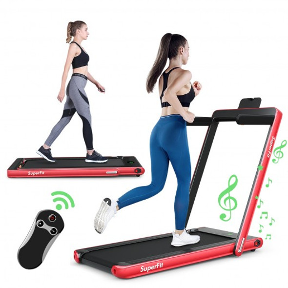 2 in 1 2.25 HP Under Desk Electric Installation-Free Folding Treadmil  with Bluetooth Speaker and LED Display-Red