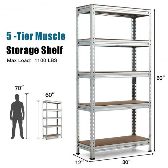 5-Tier Steel Shelving Unit Storage Shelves Heavy Duty Storage Rack-Silver