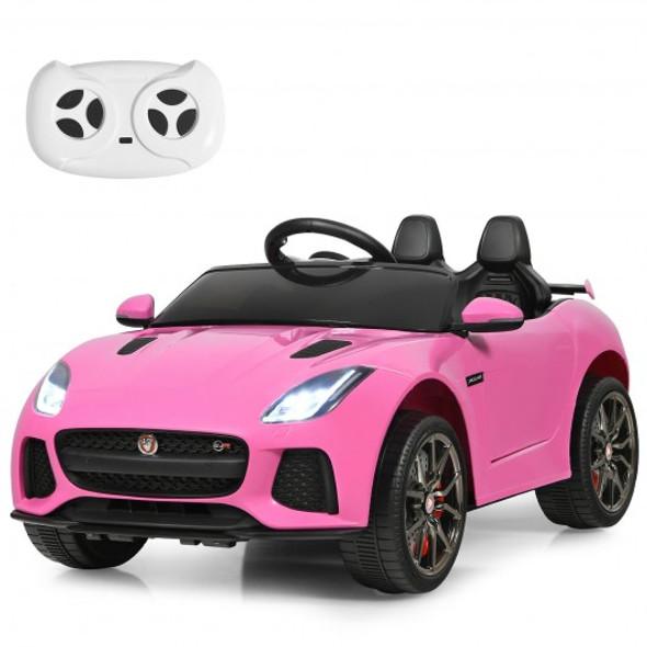 12V Jaguar F-Type SVR Licensed Kids Ride On Car-Pink
