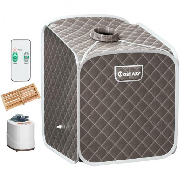 2L Portable Folding Steam Sauna Spa-Gray