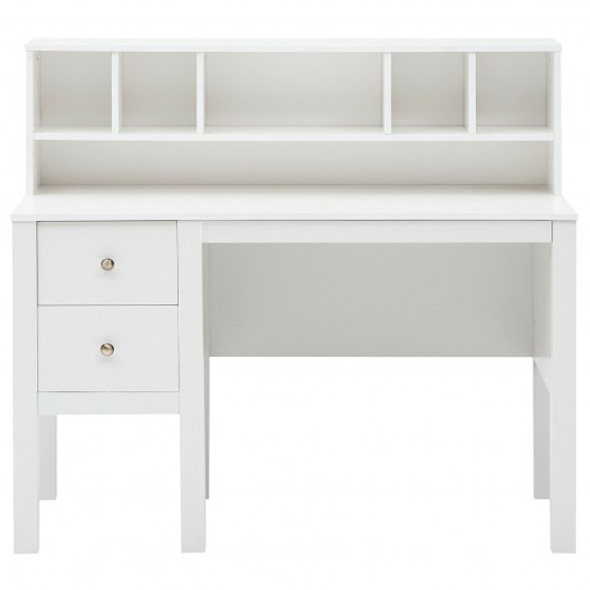 Home Office Workstation Laptop Table with Hutch and Drawers