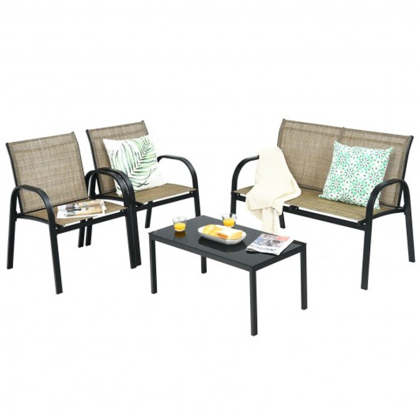 4 pcs Patio Furniture Set with Glass Top Coffee Table-Brown
