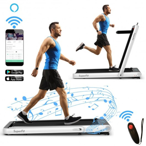 4.75HP 2 In 1 Folding Treadmill with Remote APP Control-White