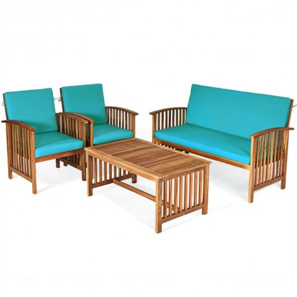 4PCS Patio Solid Wood Furniture Set-Blue