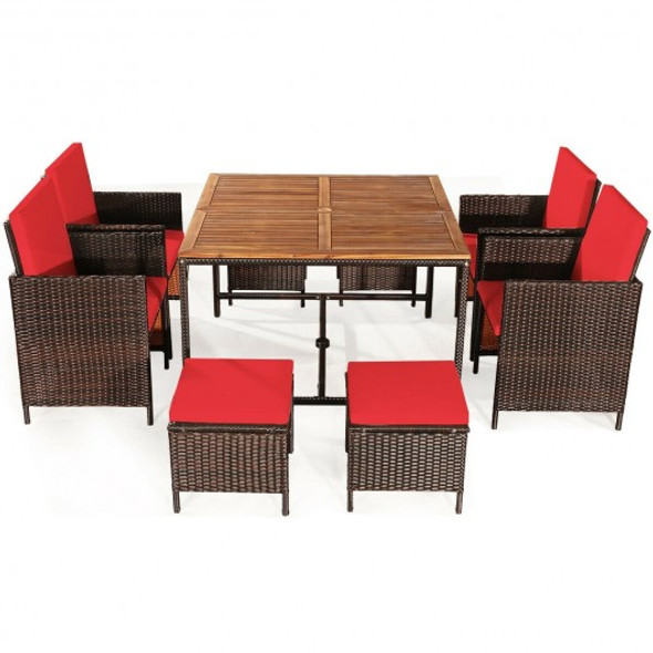 9PCS Patio Rattan Dining Cushioned Chairs Set-Red