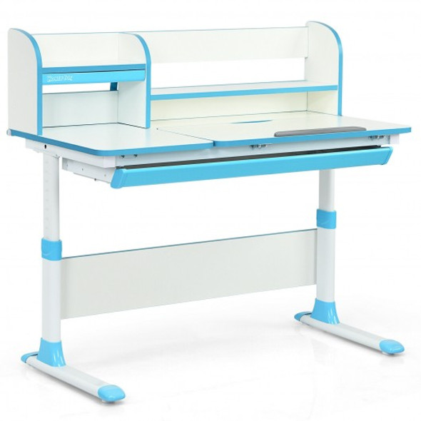 Adjustable Height Study Desk with Drawer and Tilted Desktop for School and Home-Blue