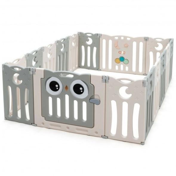 16-Panel Baby Activity Center Play Yard with Lock Door -Beige