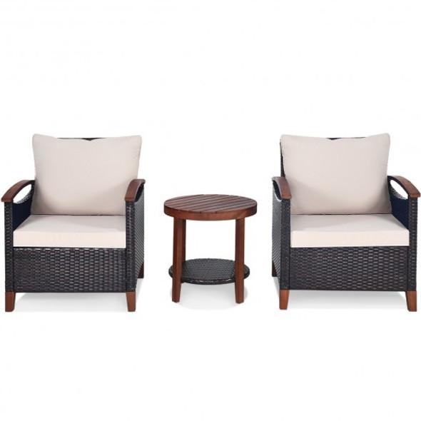 3 Pcs Solid Wood Frame Patio Rattan Furniture Set-Beige