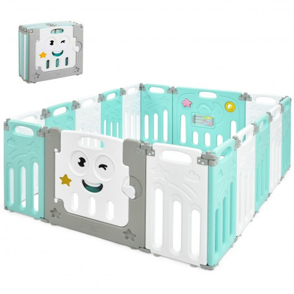 16-Panel Foldable Baby Playpen Kids Activity Centre-Green