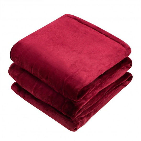 """84"""" x 90"""" Flannel Heated Electric Blanket with Dual Controllers -Red"""