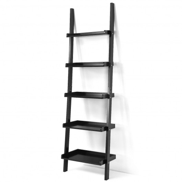 5-Tier Wall-leaning Ladder Shelf  Display Rack for Plants and Books-Black